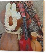 Ipu Heke And Red Ukulele With White Satin Lei Wood Print