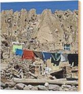 Iran Kandovan Stone Village Laundry Wood Print