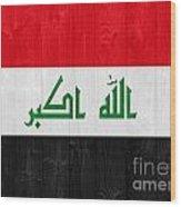 Iraq Flag Wood Print by Luis Alvarenga