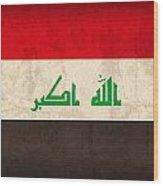 Iraq Flag Vintage Distressed Finish Wood Print