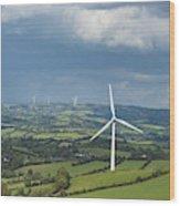 Ireland, County Cavan, Landscape With Wind Turbines Wood Print