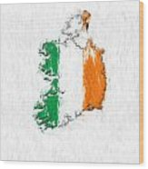 Ireland Painted Flag Map Wood Print