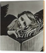 Irene Dunne Lying Down On A Zebra Print Pillow Wood Print