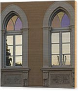 Iridescent Pastels At Sunset - Syracuse Arched Windows Wood Print
