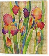 Iris Elegance On Yellow Wood Print