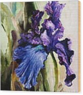 Iris In Bloom 2 Wood Print