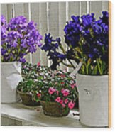 Irises And Impatiens Wood Print