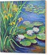 Irises And Lilies Wood Print