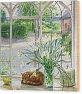 Irises And Sleeping Cat Wood Print by Timothy Easton