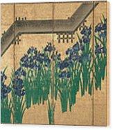 Irises At Yatsuhashi. Eight Bridges Wood Print