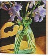 Irises In Morning Light Wood Print