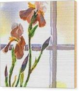 Irises In The Window Wood Print