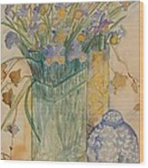 Irises With Chinese Pot Wood Print