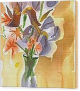 Irises With Stars Of Bethlehem Wood Print