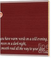 Irish Blessing - Full Moon - Greeting  - Red Wood Print