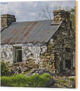 Irish Cottage Ruins Wood Print