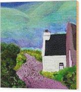Irish Cottage With Cat Wood Print