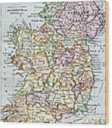 Irish Free State And Northern Ireland From Bacon S Excelsior Atlas Of The World Wood Print