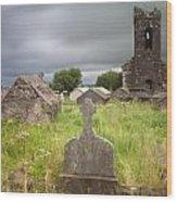 Irish Graveyard Cemetary Dark Clouds Wood Print