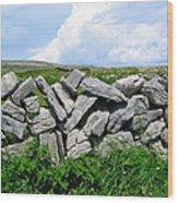 Irish Stone Wall Wood Print