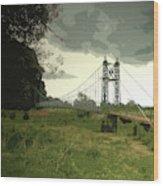 Iron Footbridge Near Doveridge, Elegant Suspension Bridge Wood Print