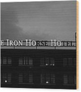 Iron Ho-ho  Black And White Wood Print