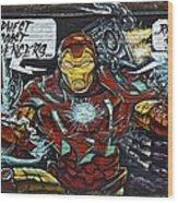 Iron Man Graffiti Wood Print