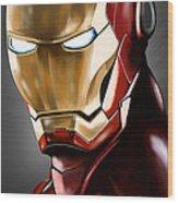 Iron Man Painting Wood Print