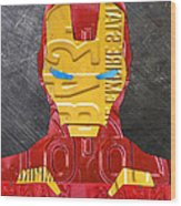 Iron Man Superhero Vintage Recycled License Plate Art Portrait Wood Print
