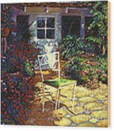 Iron Patio Chair Wood Print by David Lloyd Glover