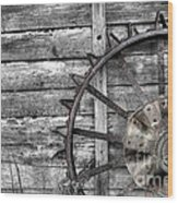 Iron Tractor Wheel Wood Print