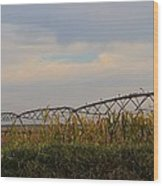 Irrigation On The Farm Wood Print by Dan Sproul