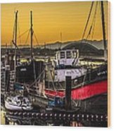 Irvine Harbour At Sunset Wood Print