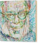 Isaac Asimov Portrait Wood Print