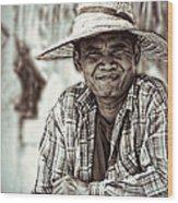 Isaan Rice Farmer Wood Print