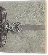 Isis And Moon Symbol Athame Wood Print