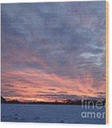 Island Barn Sunset Wood Print