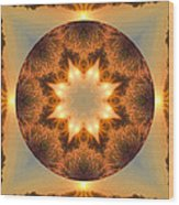 Island Beach Sunset Mandala Wood Print