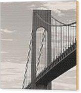 Island Bridge Bw Wood Print