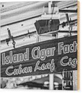 Island Cigar Factory Key West - Black And White Wood Print