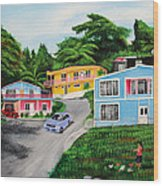 Island Hillside Living Wood Print