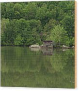 Island House On New River - West Virginia Wood Print