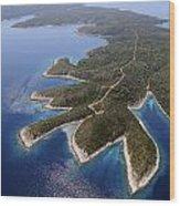 island Hvar from air Wood Print