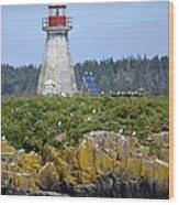 Island Lighthouse In Nova Scotia Wood Print