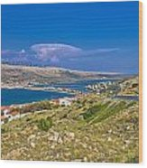 Island Of Pag Aerial Bay View Wood Print