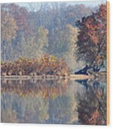 Island Reflected In The Potomac River Wood Print