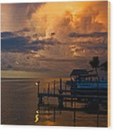 Tropical Island Storm Over Florida Keys Docks Wood Print
