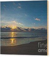 Coastal Beach Sunrise Wood Print
