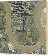 Isle Of Dogs, Aerial Photograph Wood Print