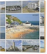 Isle Of Wight Collage - Labelled Wood Print